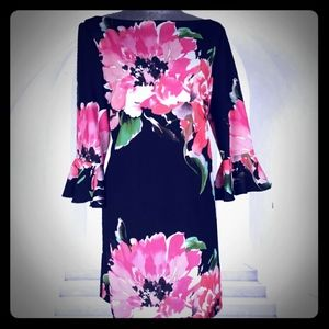 TAHARI 12 or 14 PINK GREEN FLORAL ON BLACK DRESS